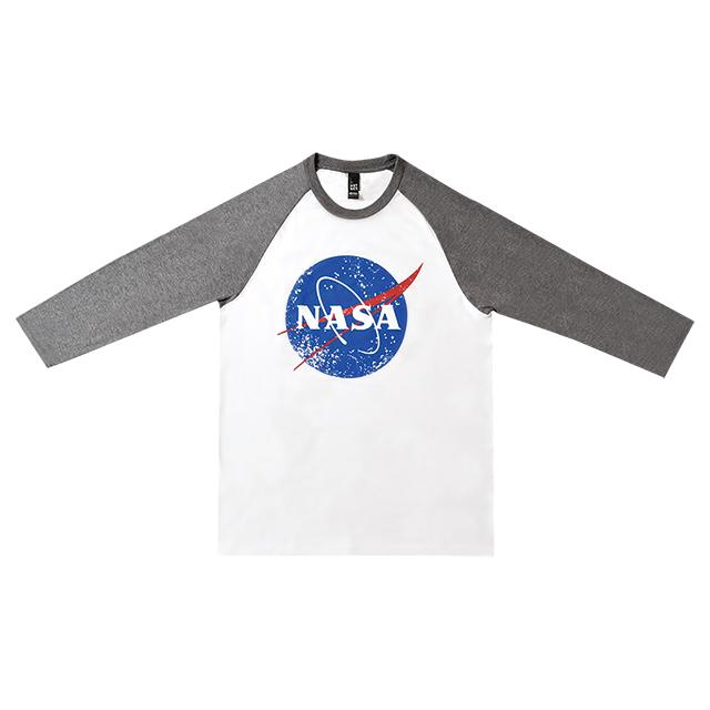 NASAロゴベースボールシャツ ホワイトグレー メイン
