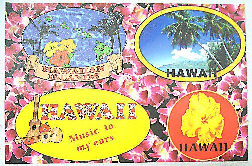 ハワイアン・ポストカードステッカー01