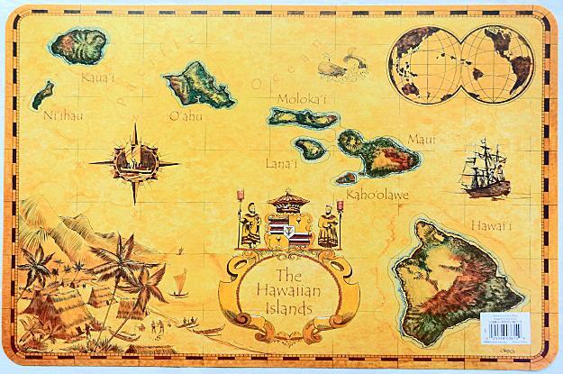【ハワイアン雑貨・最安値を目指します】ハワイアンランチョンマット(ハワイの島々)