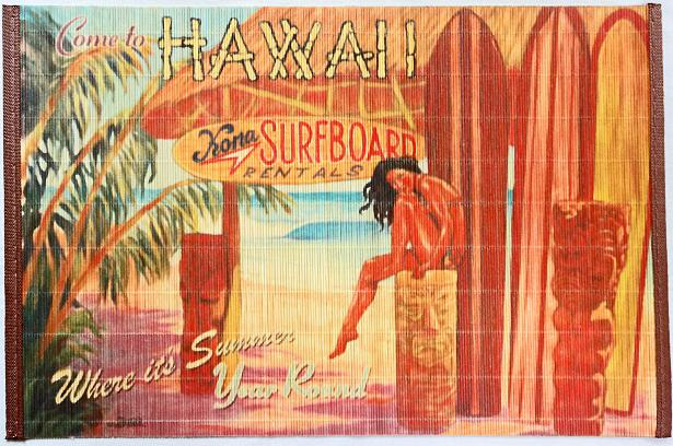 【ハワイアン雑貨・最安値を目指します】ハワイアン・バンブーランチョンマット/サーフボード