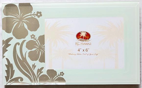 【ハワイアン雑貨・最安値を目指します】ハワイアン・フォトフレーム(写真立て)/ハイビスカスグレイ