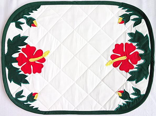 【ハワイアン雑貨・最安値を目指します】ハワイアンランチョンマット(ハイビスカス8)