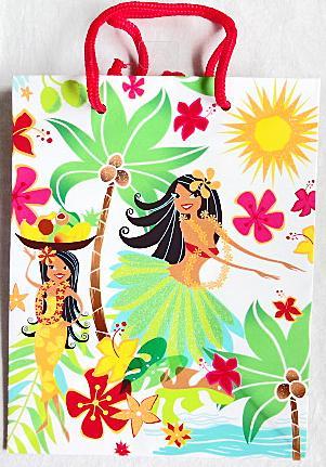 【ハワイアン雑貨・最安値を目指します】ハワイアン・ギフトバッグ・紙袋/フラガールM