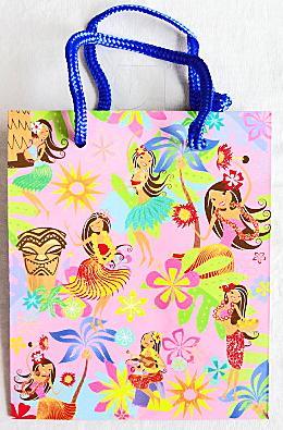 【ハワイアン雑貨・最安値を目指します】ハワイアン・ギフトバッグ・紙袋/フラハニーS