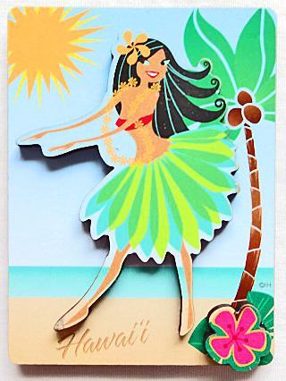 【ハワイアン雑貨・最安値を目指します】ハワイアンマグネット/フラガールMDN