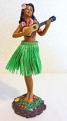 ハワイアンフラガール人形/ウクレレG6・40620