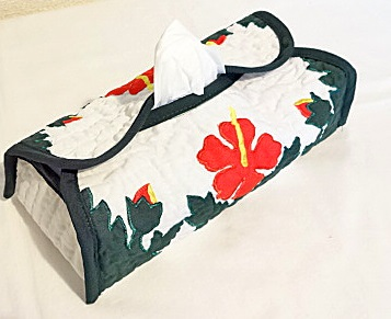 ハワイアンティッシュボックスカバー(レッドハイビスカス7)
