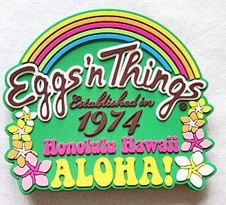 【ハワイ限定・Eggs'n Things】エッグスンシングス・ハワイアンマグネット/グリーン