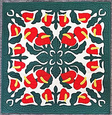 ハワイアンキルトタペストリー/壁掛け(Red Anthrium・ビックサイズ7)