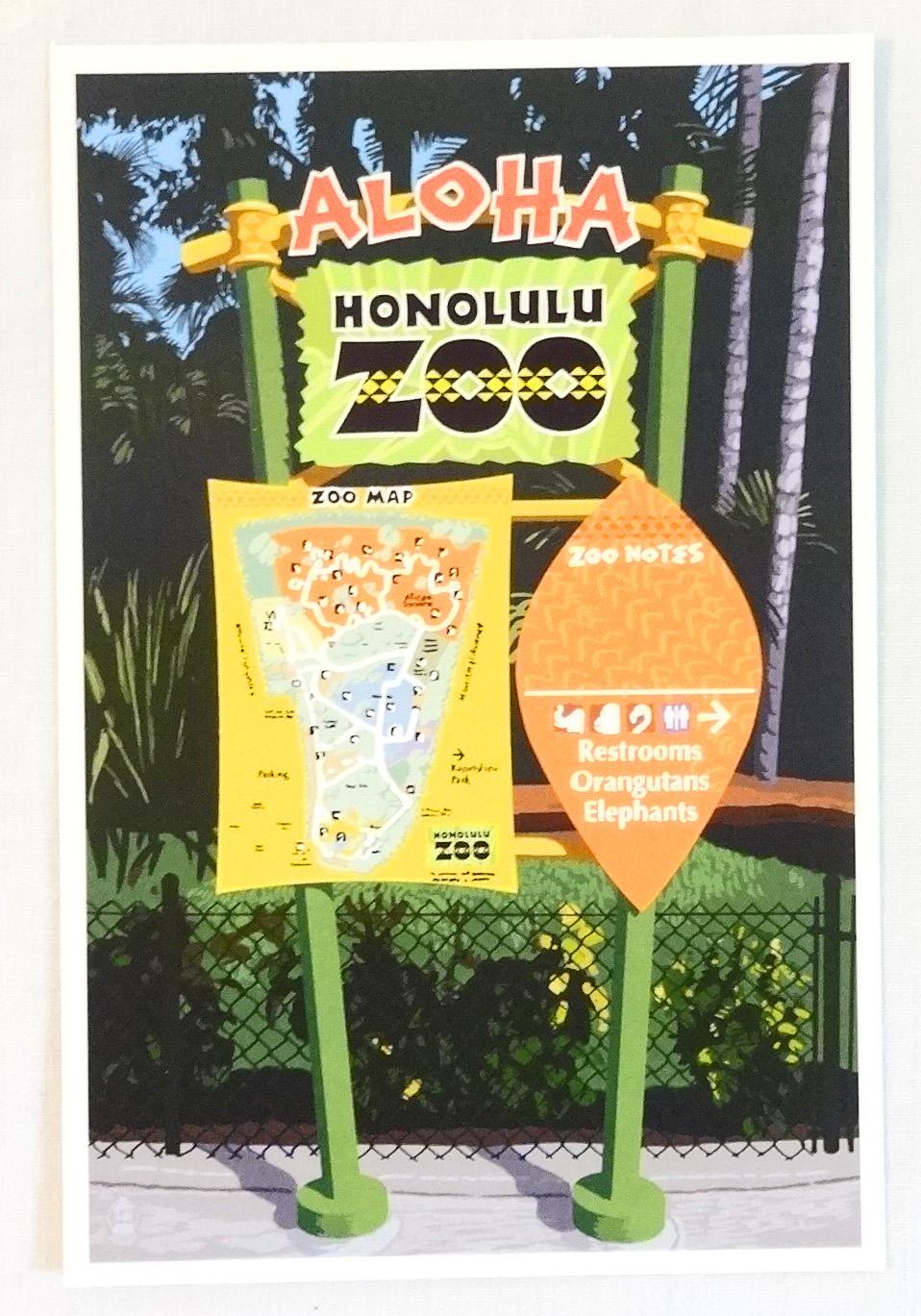 【ホノルルZOO限定】ハワイアン・ポストカード/Aloha Sign