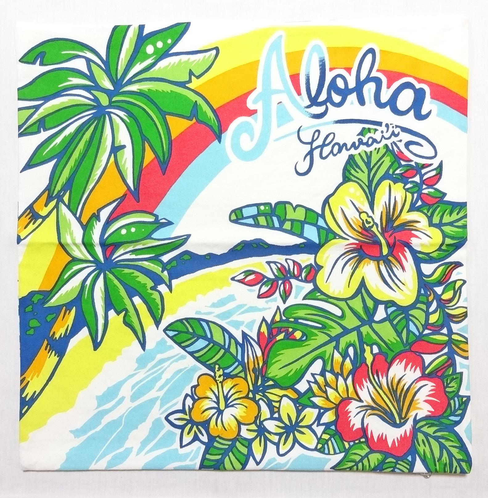 ハワイアンクッションカバー/パームツリーハイビ