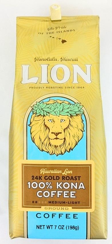 【在庫限り・生産停止】ライオン100%コナコーヒー/24Kゴールドロースト/粉タイプAD(198g)