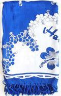 【現品限り】ハワイアンパレオ/ハイビスカスホワイトブルー
