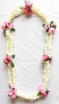 【ハワイアン雑貨・最安値を目指します】ハワイアンレイ/ダブルピカケピンクローズ Pikake ・Rose15054