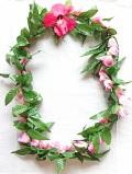 【ハワイアン雑貨・最安値を目指します】ハワイアンレイ/ピンクローズ・マイレ Rose・Maile13020P