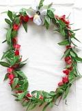 【ハワイアン雑貨・最安値を目指します】ハワイアンレイ/レッドローズ・マイレ Rose・Maile13020R