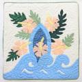【現品限り】ハワイアンキルトクッションカバー/サーフボード・ピンクハイビスカス/18インチサイズ