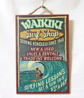 【1点商品】ハワイアン看板・ウッドプレート/WAIKIKIサーフショップ
