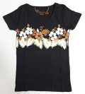 ハワイアン・ハイビラインフラTシャツ/レディース/ブラックMサイズ