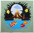 ハワイアンキルトタペストリー/壁掛け/ボルケーノ