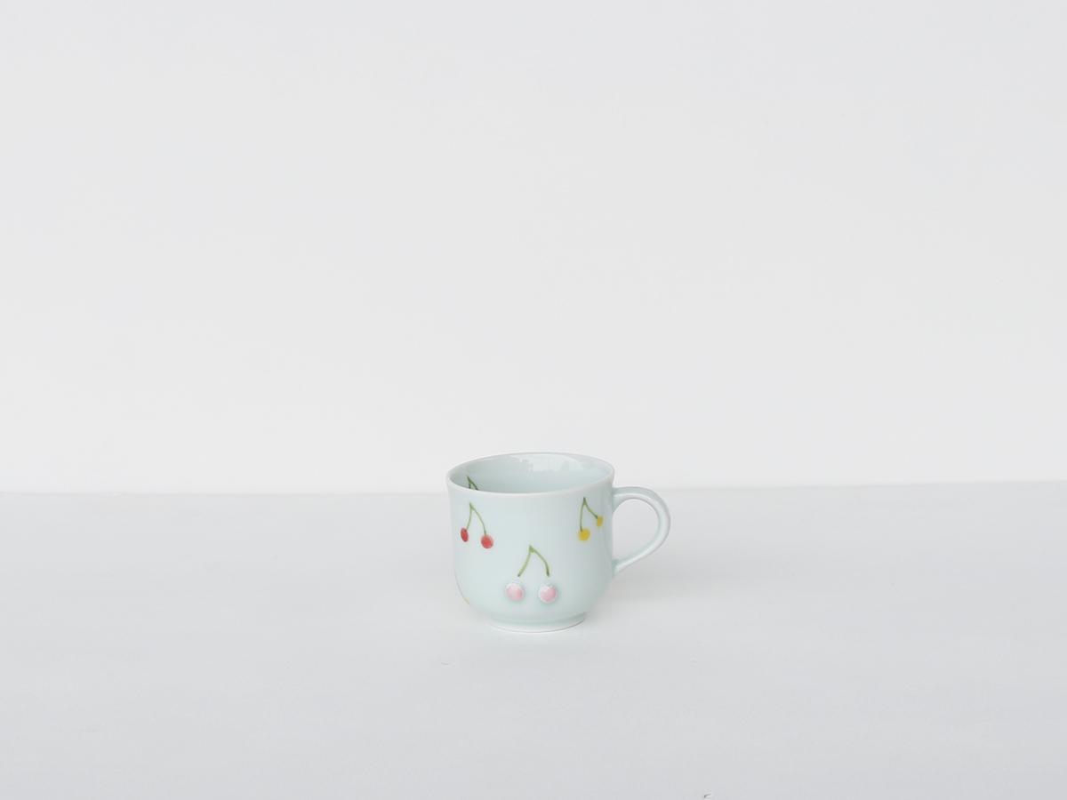 【こどものうつわ】 サクランボ柄 ミニマグ 吉田焼