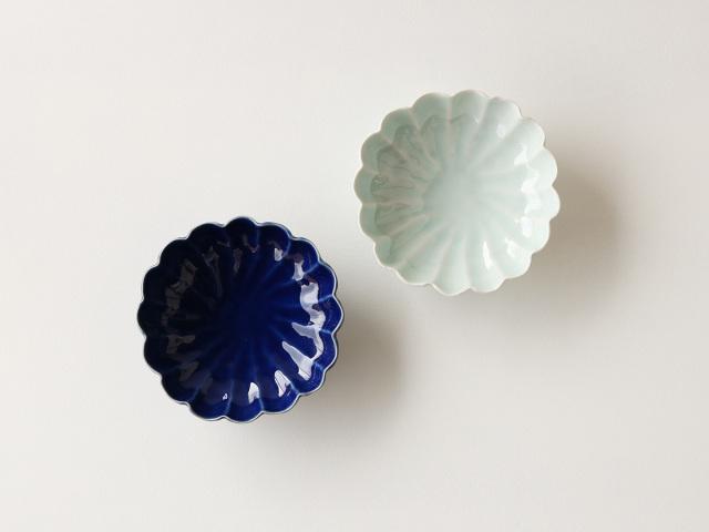 瑠璃釉/青磁 菊型 浅鉢 波佐見焼