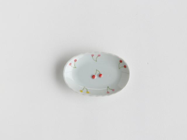 【こどものうつわ】サクランボ柄 ミニ楕円皿 吉田焼