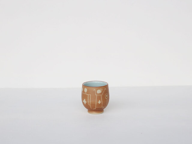 【デッドストック】 ナスカの地上絵のような湯呑 波佐見焼(プエルト小コップ)