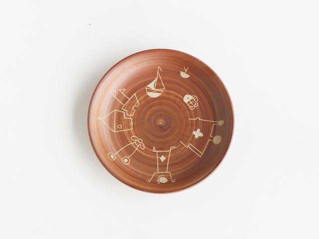 【デッドストック】ナスカの地上絵のような8.5寸皿 プエルト 佐見焼
