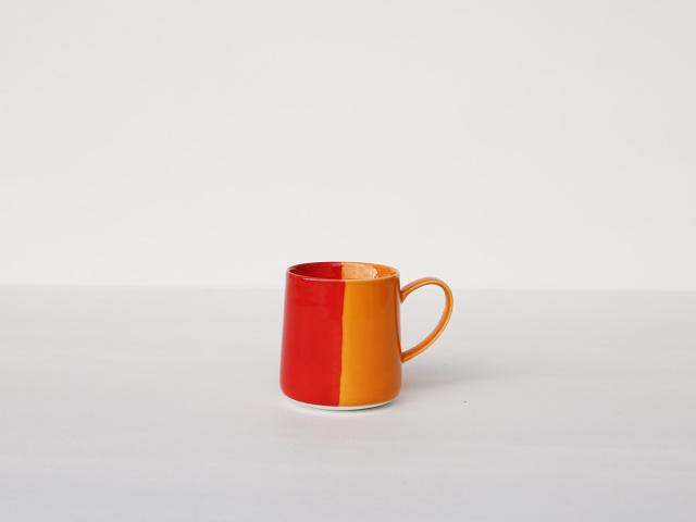 色釉 レッド×オレンジ マグカップ 波佐見焼