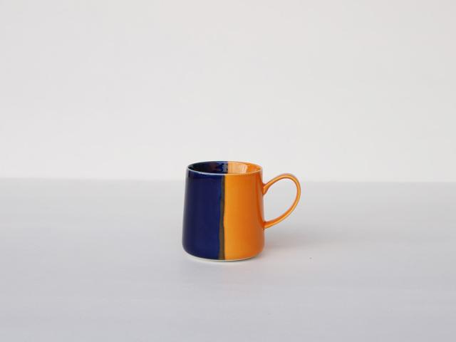 【予約販売】色釉 ブルー×オレンジ マグカップ 波佐見焼