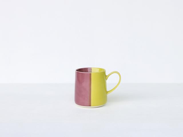色釉 パープル×ライトグリーン マグカップ 波佐見焼