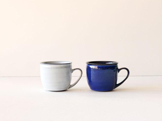 ワラ白/ブルー釉 丸マグカップ 波佐見焼