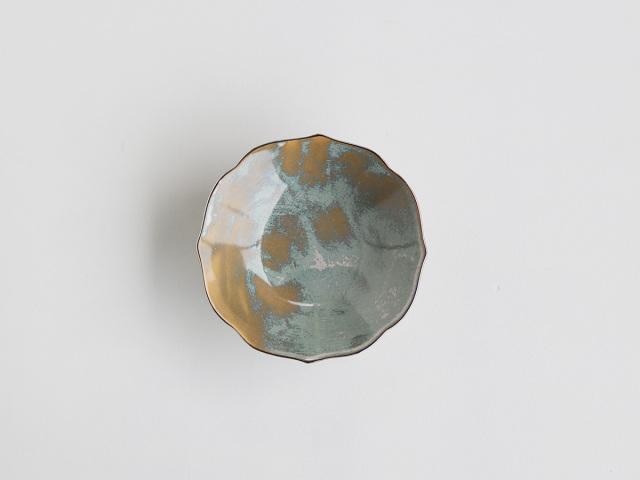 青白亜フチ銀桔梗5.5寸平鉢 有田焼