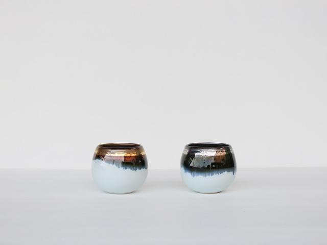 墨流し しずくカップ(小) 有田焼 雲母金