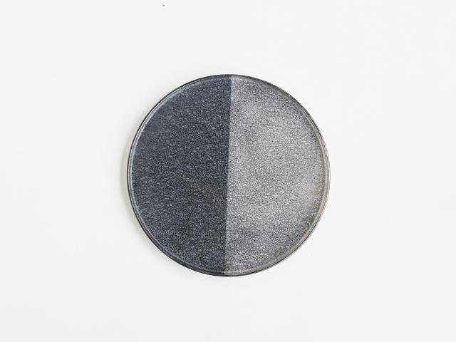 晶 半銀 27cmフチ付き 丸皿 有田焼