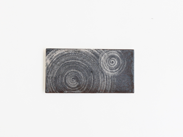 晶銀 ふたかすり 25cm長角陶板 有田焼