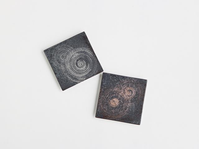 晶金 / 晶銀 かすり 12cm角陶板 有田焼