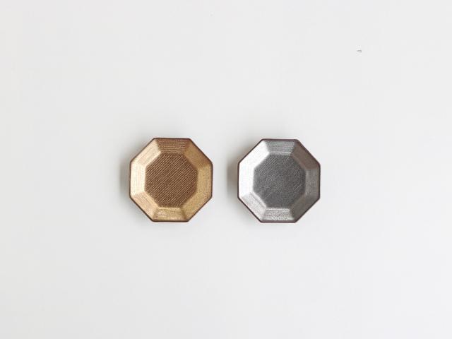 紫素 金塗り/銀塗り 八角小皿 有田焼