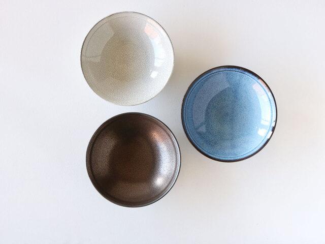 金彩釉/ブルー釉/黒土かいらぎ 丸鉢 小 波佐見焼