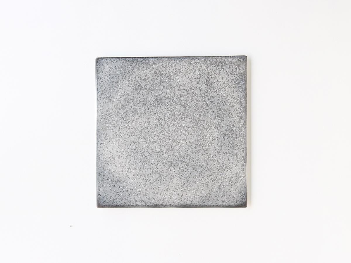 黒柚子 銀塗り 24cm角型陶板 有田焼