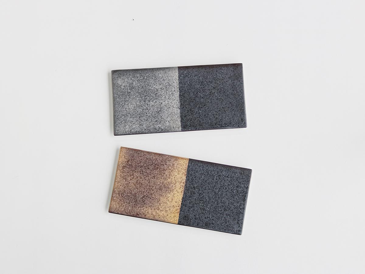 晶 半金 / 半銀 25cm長角陶板 有田焼