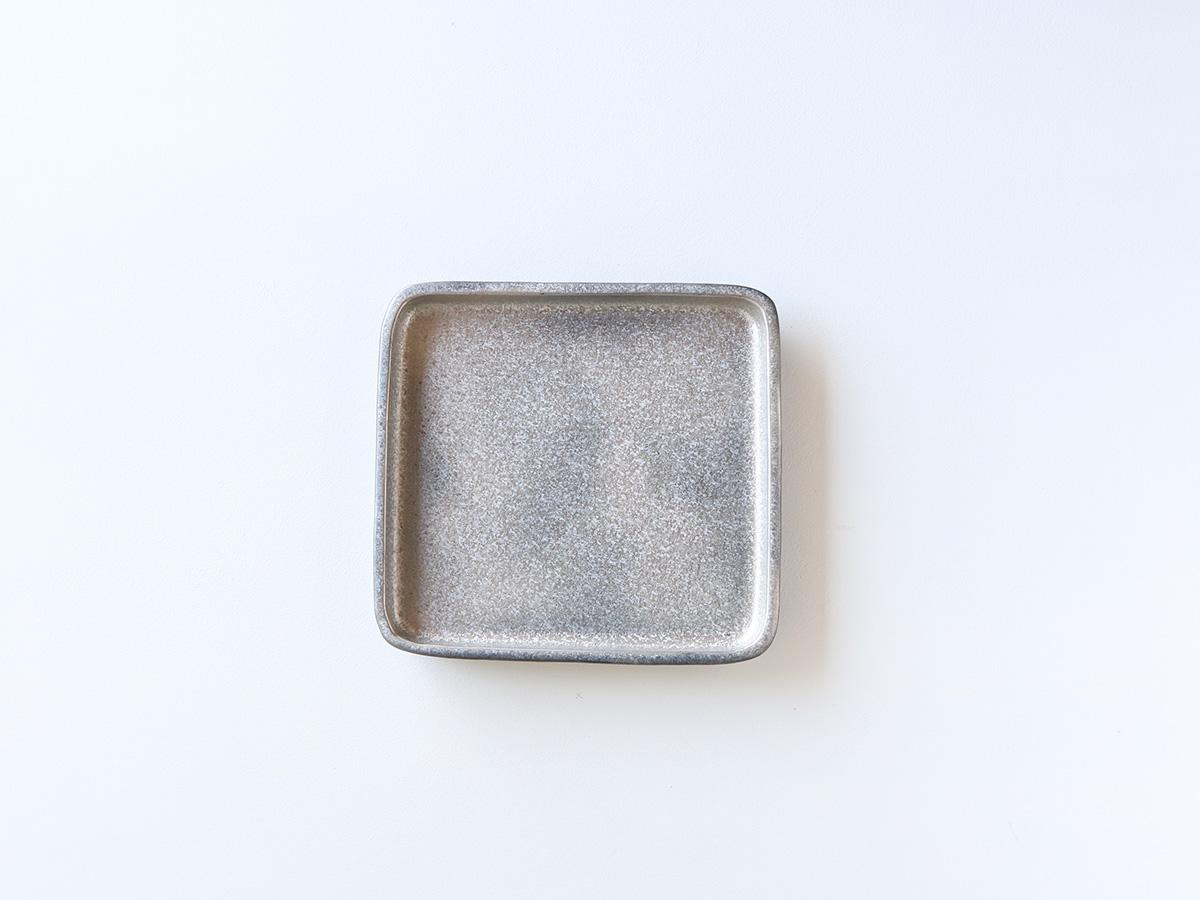 黒柚子 銀塗 正角6寸皿 有田焼