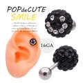 【8月再入荷】[16G]POPでCUTE!!キラキラ360度可愛い大粒Blackパヴェスマイル軟骨ピアスボディピアス[ブラック]0003