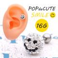 【2月再入荷】[16G]POPでCUTE!!キラキラ360度可愛い大粒パヴェスマイル♪クリスタルカラー♪軟骨ピアスボディピアス 0394