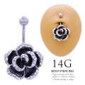 [14G ]女らしさ光るアクセント♪華やか立体Blackローズフラワー 花 へそピアスボディピアス 0396