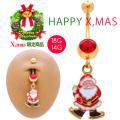 【11月新作】[18G14G]サンタジュエルでクリスマスを楽しくお洒落♪バナナシャフト耳たぶへそピアスボディピアス 0472