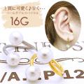 [14G][16G]上質に可愛く♪甘く…豪華ダブルパールスパイラル軟骨ピアスボディピアス 0691 SS
