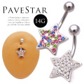 [14G ]豪華なスワロフスキーパヴェスター星starヘソピアスボディピアス 1139