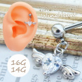 【6月再入荷】[14G16G]媚びない可愛さキュービックウイングデザイン軟骨ピアスボディピアス 0651